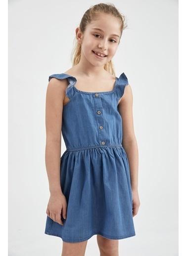 DeFacto Kız Çocuk Volanlı Jean Elbise Mavi